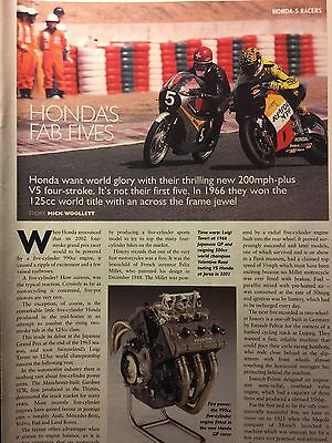 HONDA 5cyl 125cc RACERS # 1966 MODEL # 4 PAGE ORIGINAL MOTORCYCLE ARTICLE