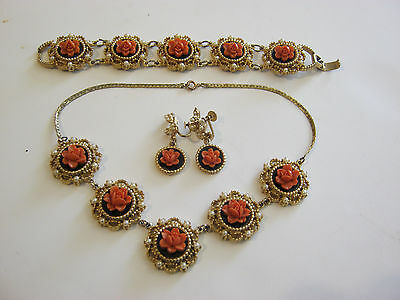 Vintage choker, bracelet & earrings set, goldtone, coral flowers, faux pearls