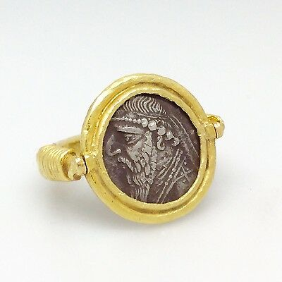 Ancient Silver Coin in Handmade 21k Ring Setting - HM1688N