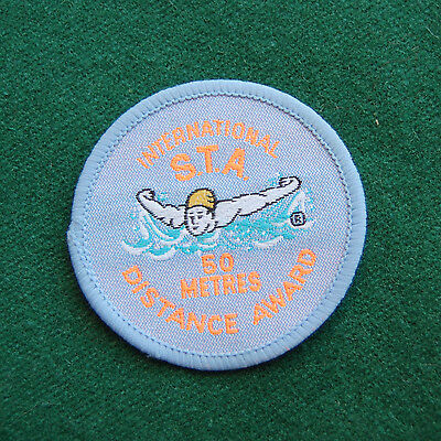 International S.T.A 50 Metres Distance Award Patch/Cloth Badge Vintage Swimming