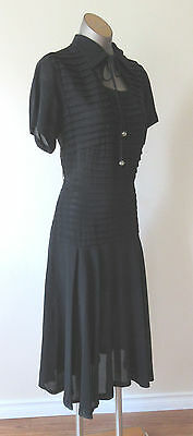 1950's Horizontally Pleated Black Crepe Dress with rhinestone button accents