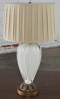 Vintage Murano Glass Table Lamp White Sommerso in the Style of Seguso