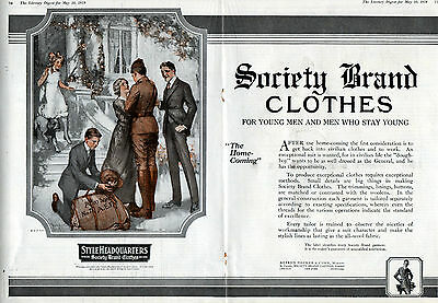 1919 Society Brand Clothes ad- Home From the War (WW l)-2 page centerfold -0-976