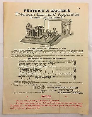 Antique c1880s Partrick & Carter Telegraph Telephone Electric Advertising Letter