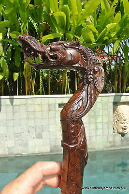 wooden DRAGON head walking stick wood hand carved crutch handle scales 950 mm