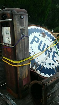 6' Be Sure With Pure Gas Oil 2 Sided Porcelain Sign with Original Top Pole Ring