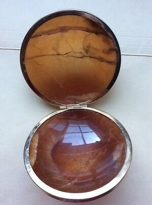 Vintage AMBER HINGED TRINKET BOX HAND CARVED ALABASTER Heavyweight