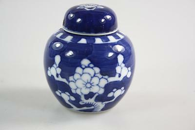Vintage Chinese Blue White Lidded Mini Ginger Jar With Plum Blossoms