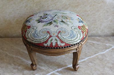 Antique Round Needlepoint Provincial Louis Xv Style Diminutive Carved Footstool