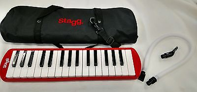 Stagg Red Plastic Melodica MELOSTA32RD 32 Key Soft Carrying Case