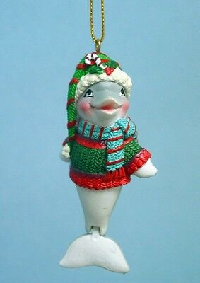 CHRISTMAS DOLPHIN w/MOVEABLE TAIL WEARING HAT SCARF & SWEATER CHRISTMAS ORNAMENT