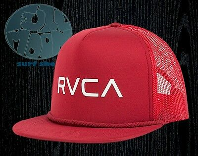 NEW RVCA FOAMY Mens Dark Red Mesh Snapback Trucker Cap Hat -  20.95 ... 37e6a5e234e