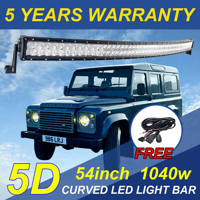 """728W 54inch 5D Led Light Bar Curved CREE Spot Flood Combo Offroad 4WD 56"""" +Wire"""