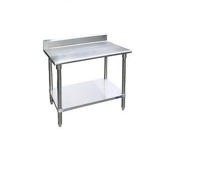 "Stainless Steel Work Prep Table with 5"" Backsplash - 24 x 96"
