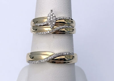 His Her Men Womens marquise Diamond Ring Set Wedding Band 14k Yellow Gold Trio
