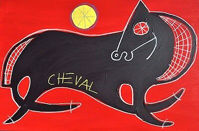 Cheval Noir - Pop Painting Listed Texas Artist Paco Felici