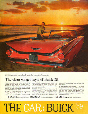 1959 Classic Car AD New '59 Buick !  red convertable winged style sunset 060115