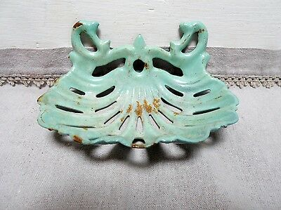 Old French CAST IRON BLUE Soap Dish Holder basket
