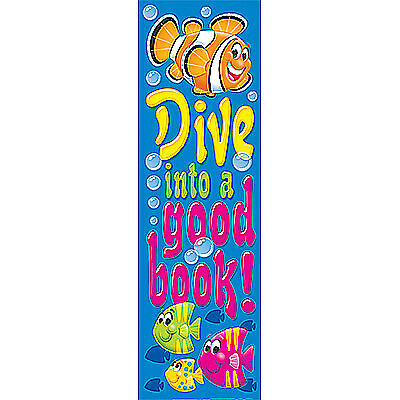 Dive into a good book. Fun Fish School Bookmarks. Pack of 36