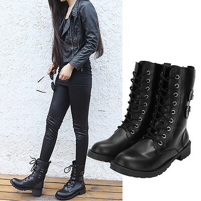 Fashion Women Mid Lace Up Shoes Ankle High Flat Heel Cowboy Combat Military Boot