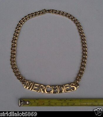 Mercedes Benz Gold Tone Script Chain (Necklace) Mint