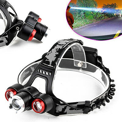 20000LM Waterproof 3 x T6 LED Zoomable Headlamp 4 Modes Head Torch Light 18650