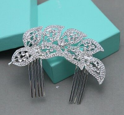 Bridal Wedding Crystal Rhinestone Diamante Leaf Flower Hair Comb Clip Tiara