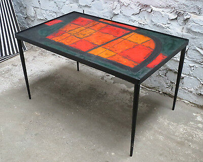 Robert & Jean Cloutier Ceramic Coffee Side Table Tisch France 1950s Vallauris