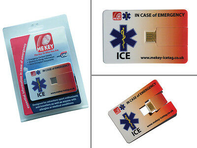 Emergency Medical ID Card USB Medi Alert from Mekey ICE tag