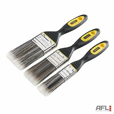 3 Pack Stanley Dynagrip Synthetic Paint Brush 25, 38 & 50mm Painting Decorating