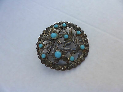 Vintage Retro Pewter Brooch With Blue Glass Beads Flowerpattern