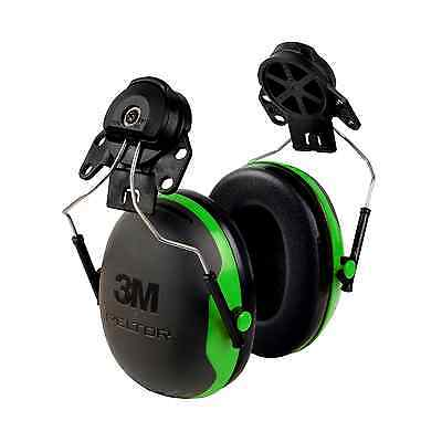 Ear Muffs Hard Hat Mounts 4-Point Ratchet 21dB Noise Reduce 1-Pack Black Green