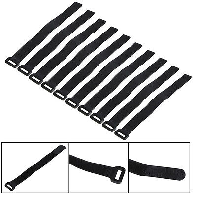 10X 30*2cm Strong RC Battery Down Tie Strap Reusable Antiskid Cable Straps Black