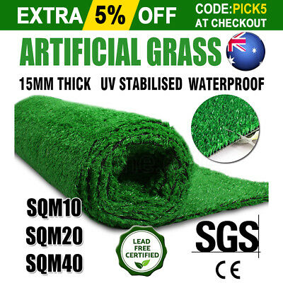 10/20/40 SQM Artificial Grass Synthetic Turf Plastic Plant Fake Lawn Flooring OZ