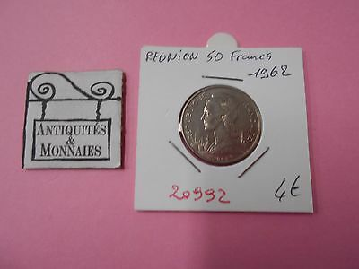Reunion 50 Francs 1962 - Old French Coin - Ref20992