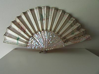 Antique Mop Mother Of Pearl Hand Painted Silk Hand Fan Eventail For Repair