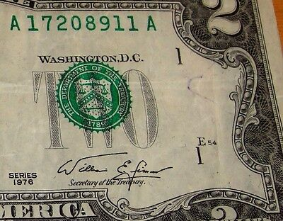 Error $2 TWO dollars 1976 OVERINKED DISTRICT SEAL  Errors  Rare 8911