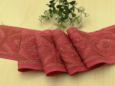 Vintage Indian Sari Trim Border Lace Sewing Salmon Embroidered Sarong 1YD Ribbon