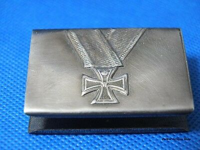 GERMAN WWII IRON CROSS 1914 MATCHBOX COVER WITH MAKERS MARK-trench art