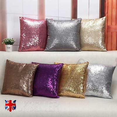 Mermaid Glitter Sequins Pillow Cover Cases Home Car Sofa Cushion Covers 5 Colors