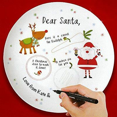 Christmas Kids Xmas Personalised Plate for Santa with Marker Pen