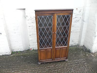 Oak Bookcase with Leaded Glass Doors