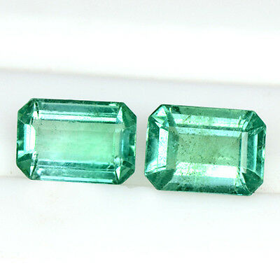 1.54 Cts Natural Emerald Cut Loose Gemston Octagon pair Zambia Untreated 7x5 mm