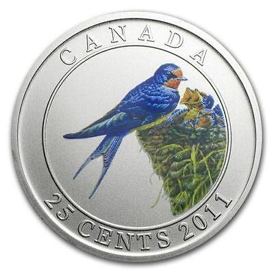 2011 25-Cent Coloured Barn Swallow, Birds Of Canada Series