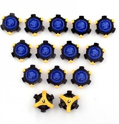 Blue & Yellow 14Pcs Golf Shoes Spike Replacement  Fast Twist Tri-Lok For Footjoy
