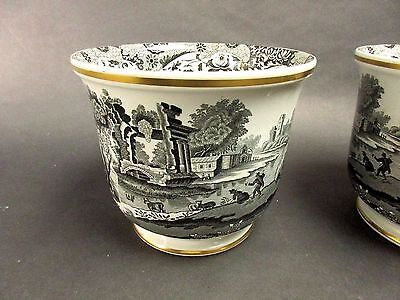 Copeland Spode Italian England Black & White Large Bowl with Gold Trim (2 Avail)
