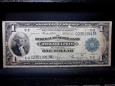 1918 $1 Federal Reserve National Bank-Note ✪ Philadelphia ✪ Currency ◢Edelmans◣