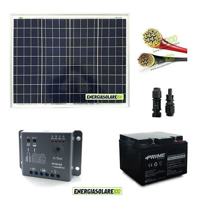 Photovoltaic Solar Kit panel 50W 12V controller 5A EPSolar Battery cables RV mot
