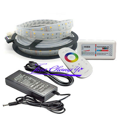 5M 12V SMD RGBW white 5050 600LED Double Row LED Strip +2.4G controller+8A power