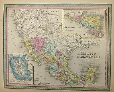 1850 Mitchell Map of Mexico, Texas and Guatemala (Post Mexican-American War)